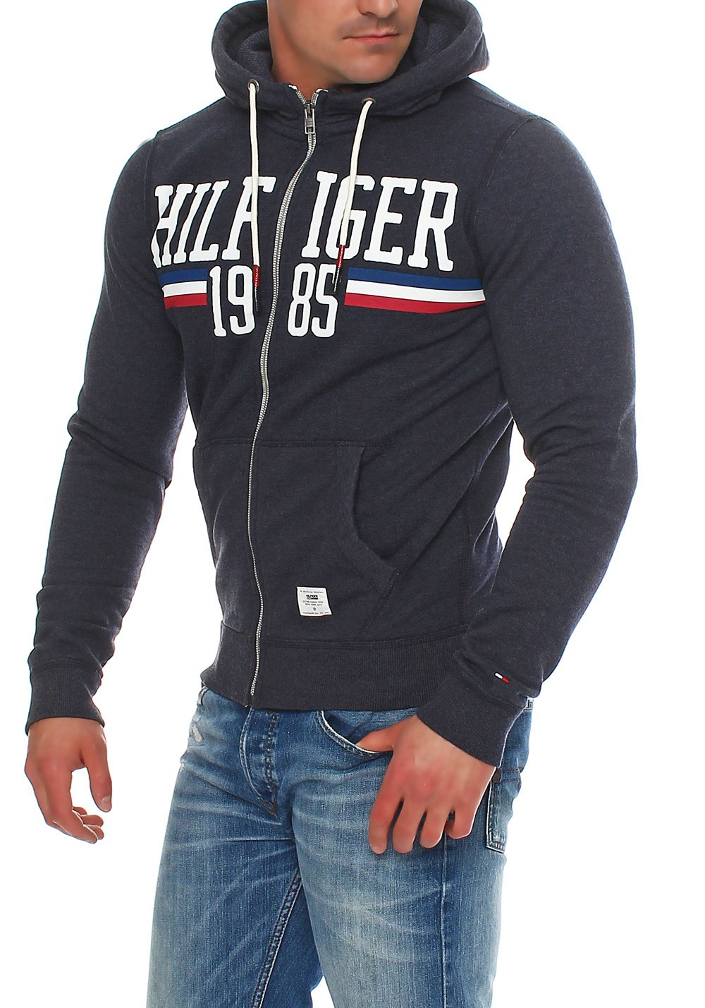 tommy hilfiger denim basic logo hoodie sweatjacke jacke s m l xl xxl ebay. Black Bedroom Furniture Sets. Home Design Ideas