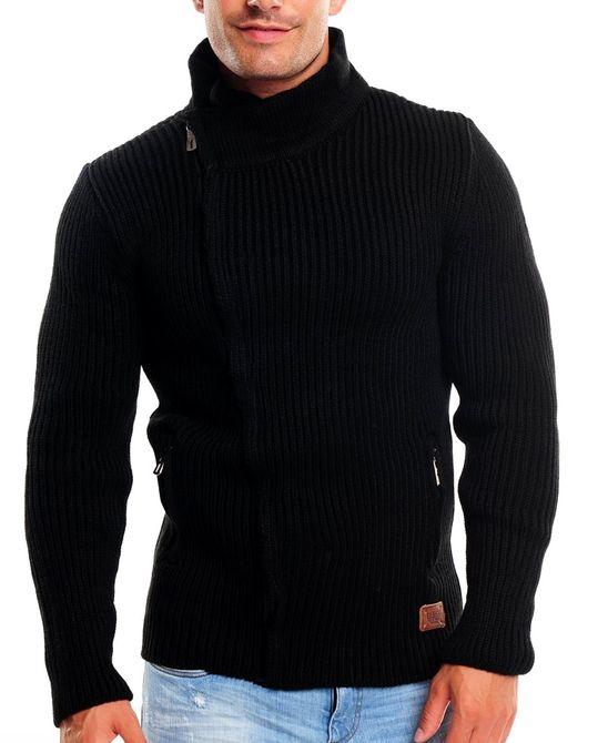 wasabi herren strickjacke cardigan jacke strickpullover 304 m l xl neu schwarz. Black Bedroom Furniture Sets. Home Design Ideas