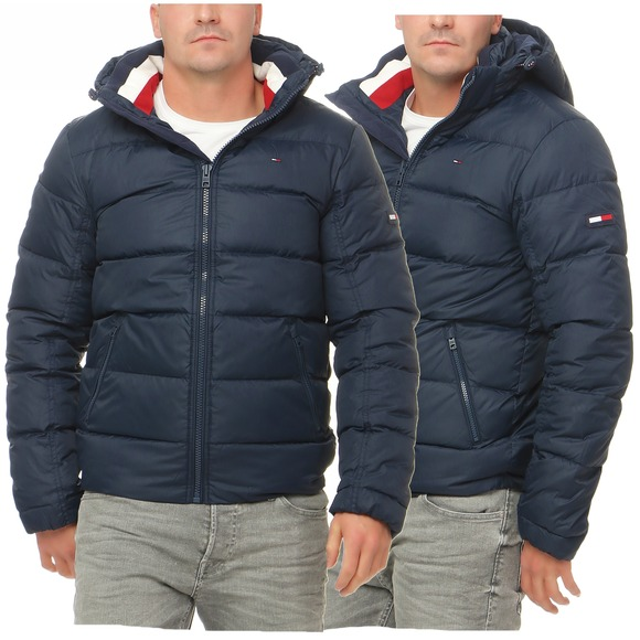 tommy hilfiger denim basic down jkt 12 winter jacke daunenjacke navy ebay. Black Bedroom Furniture Sets. Home Design Ideas