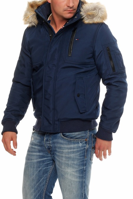tommy hilfiger denim technical bomber jacke winterjacke navy s m l xl xxl ebay. Black Bedroom Furniture Sets. Home Design Ideas