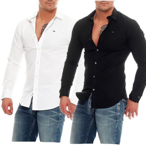 tommy hilfiger denim slim fit hemd 1957888891 langarm stretch shirt ebay. Black Bedroom Furniture Sets. Home Design Ideas
